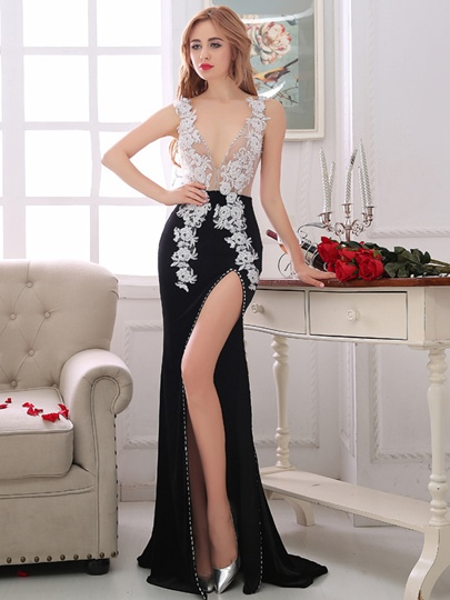 Sheath V-Neck Appliques Rhinestone Evening Dress