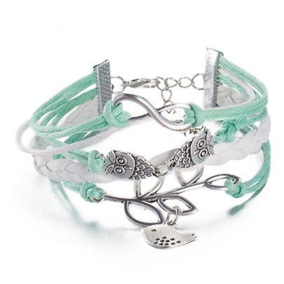 Owl & Bird Design Green Bracelet