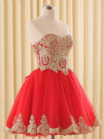 A-Line Sweetheart Cap Sleeves Appliques Short Homecoming Dress