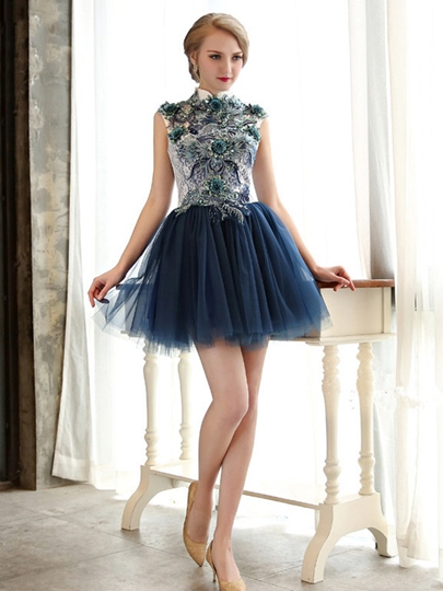 A-Line High Neck Cap Sleeves Appliques Lace Sequins Mini Homecoming Dress