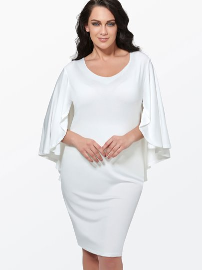 White Open Back Women's Plus Size Dress