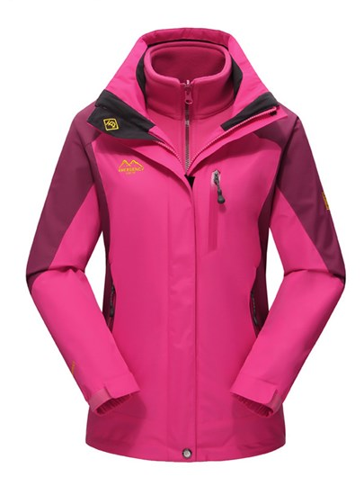 3 in 1 Bright Color Wind-Water-Proof Warm Female Outdoor Jacket