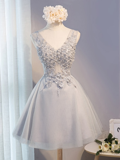 A-Line V-Neck Appliques Beading Flowers Short Homecoming Dress