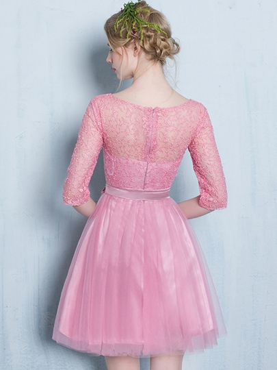 A-Line Scoop Half Sleeves Bowknot Lace Sashes Mini Homecoming Dress