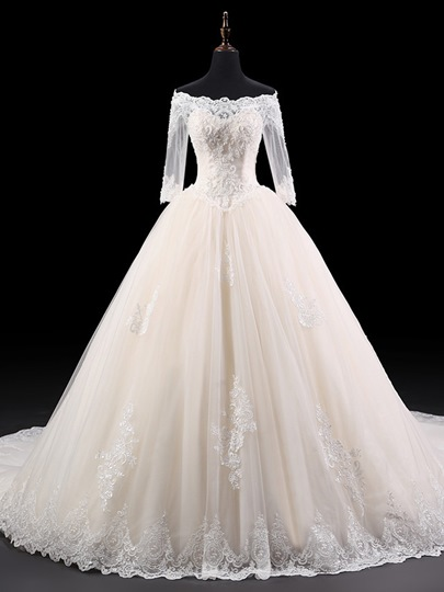 Off-the-Shoulder Beaded Appliques Half Sleeves Ball Gown Wedding Dress Off-the-Shoulder Beaded Appliques Half Sleeves Ball Gown Wedding Dress
