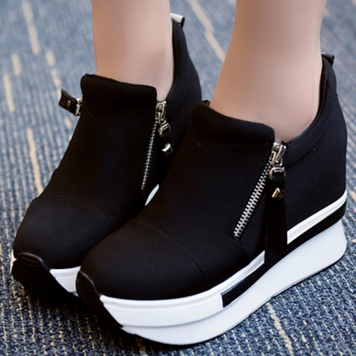 Round Toe Side Zipper Cloth Western Platform Women's Sneakers