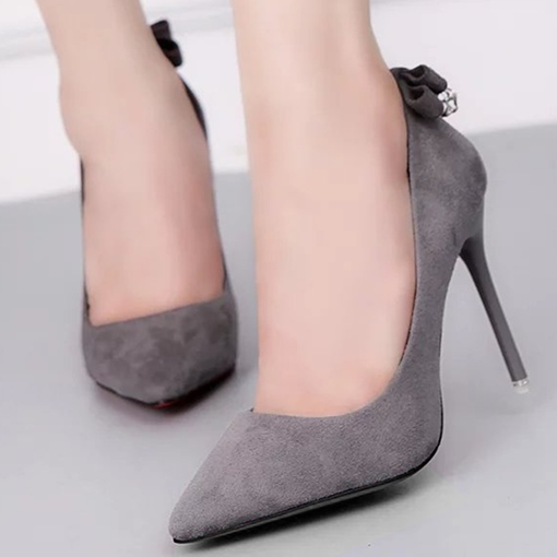 Suede Slip-On Rhinestone Pointed Toe Women's Pumps