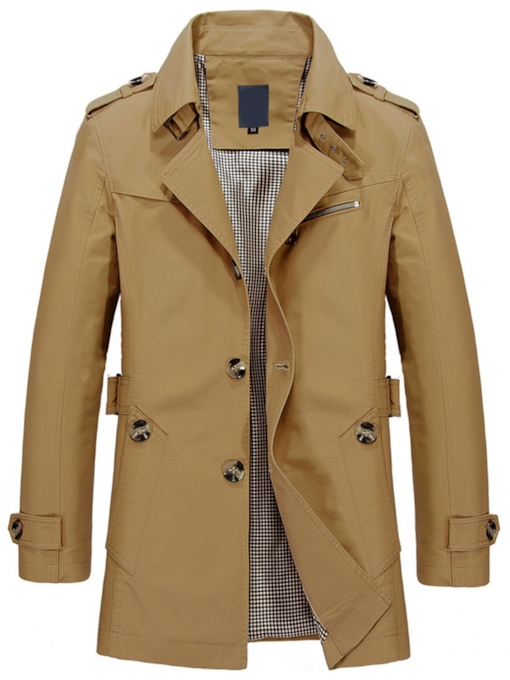 Solid Color Notched Lapel Single-Breasted Men's Coat