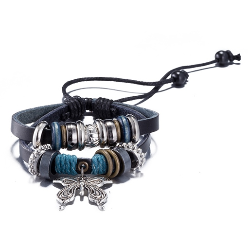 Butterfly Pendant Black Artificial Leather Bracelet