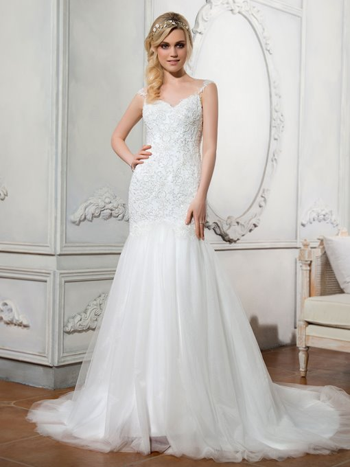 Sweetheart Beading Button Beaded Mermaid Wedding Dress
