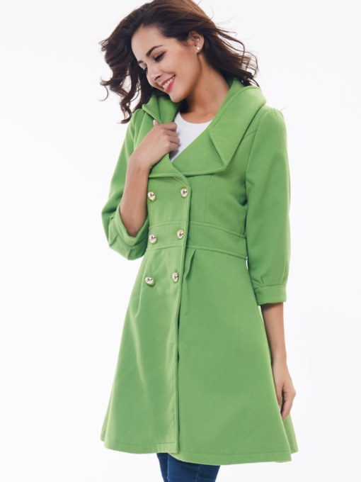 Green Double-Breasted Half Sleeve Women's Overcoat