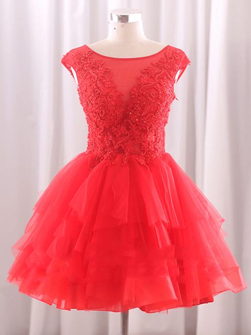 Beading Scoop Appliques Short Homecoming Dress