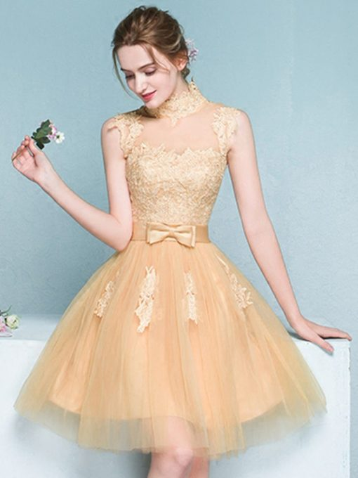 A-Line High Neck Appliques Bowknot Sashes Mini Homecoming Dress