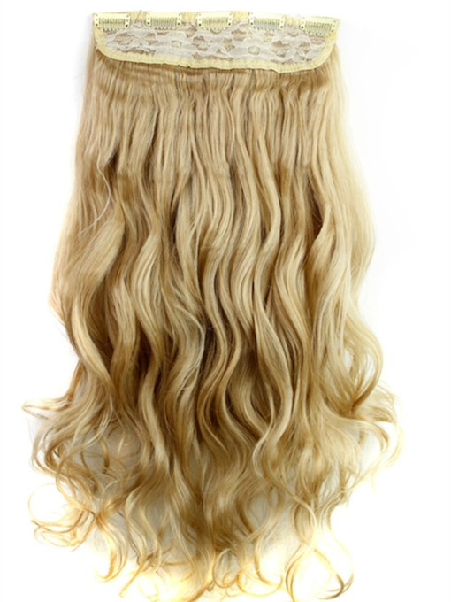 Mix Color Long Wave Synthetic One Piece Clip In Hair Extension 24 Inches 27M613