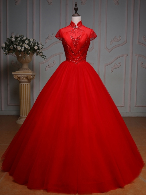 High Neck Beading Rhinestone Pleats Long Quinceanera Dress