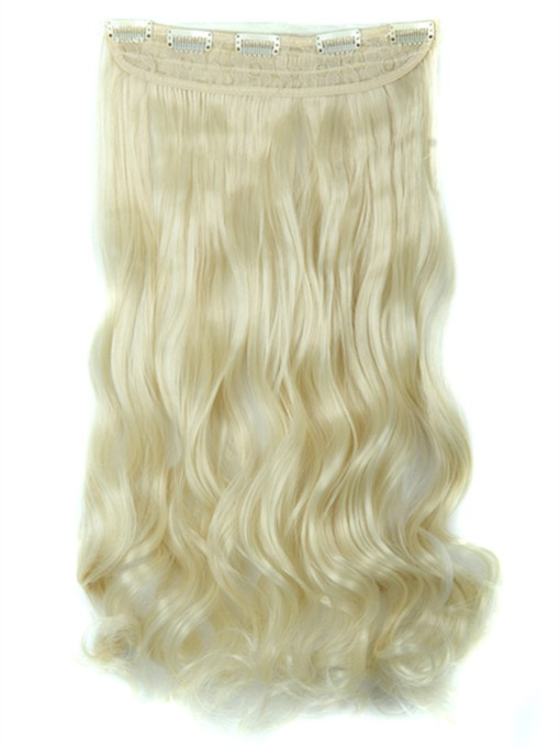 Long Wavy One Piece Clip In Hair Extension 24 Inches Synthetic 613#