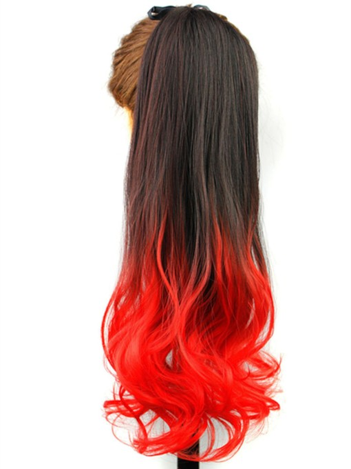 Red Ombre Wavy Synthetic Hair Lace up Ponytail 22 Inches