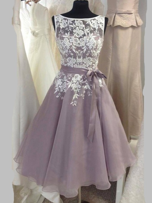 Bateau Neck Appliques Sashes Tea-Length Bridesmaid Dress