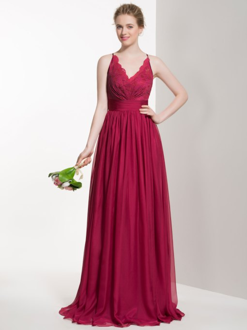 V Neck Lace Top Long Bridesmaid Dress