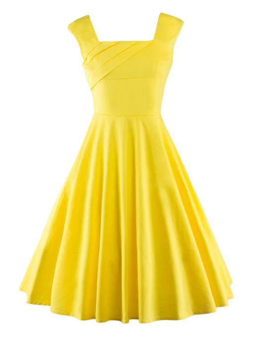 Square Neck Plain Colorful Zipper Women's Day Dress