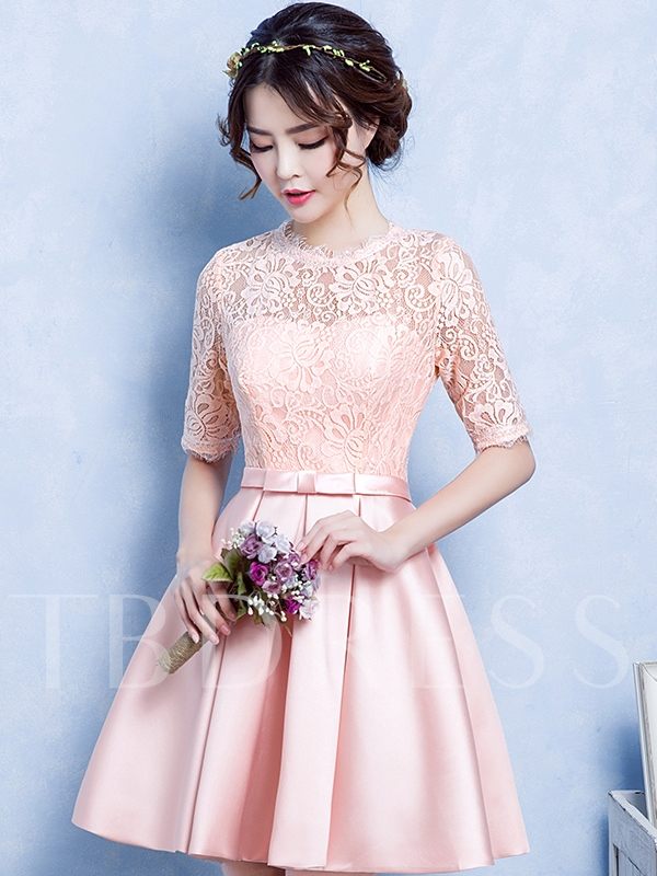 Image of A-Line Jewel Neck Half Sleeves Lace Short Homecoming Dress