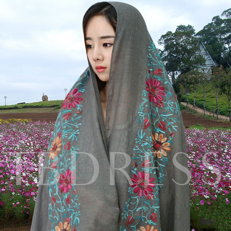 Flowers Embroidery Shawl Scarf