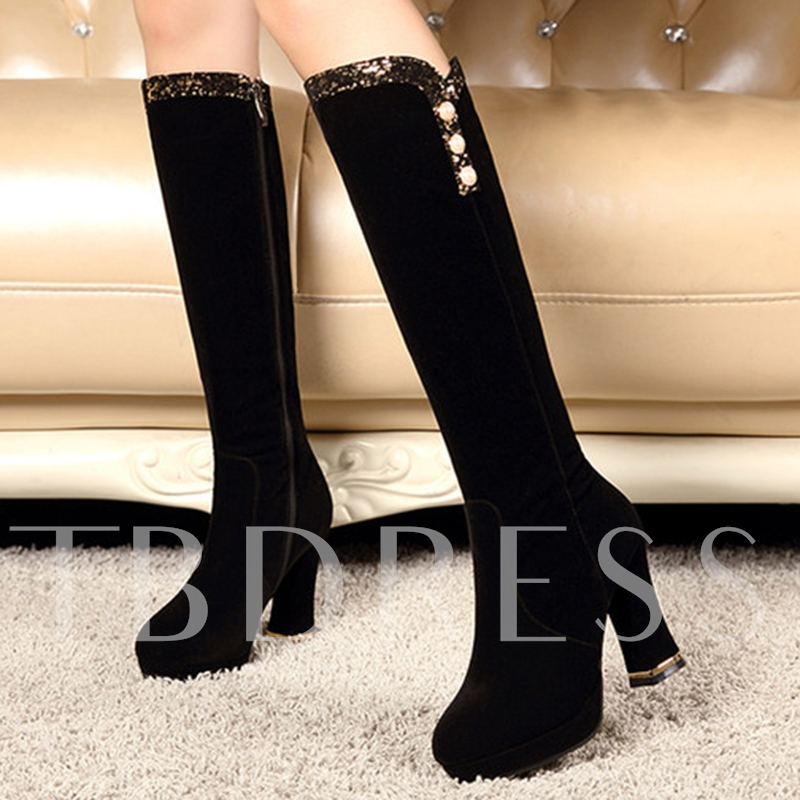 Platform Side Zipper Suede Knee-High Round Toe Women's Boots