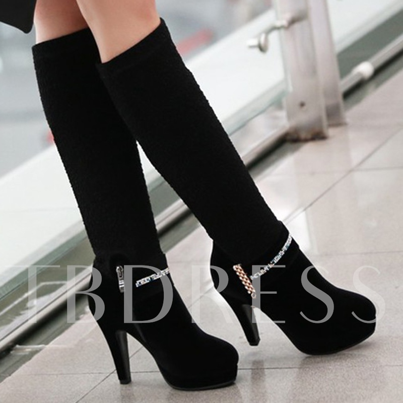 Round Toe Side Zipper Knee-High Suede Rhinestone Women's Boots