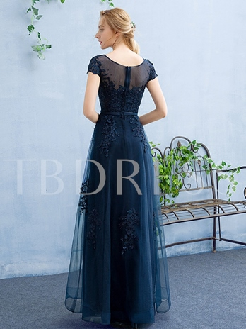 Cap Sleeves A-Line Scoop Appliques Beading Evening Dress