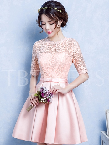 A-Line Jewel Neck Half Sleeves Lace Short Homecoming Dress