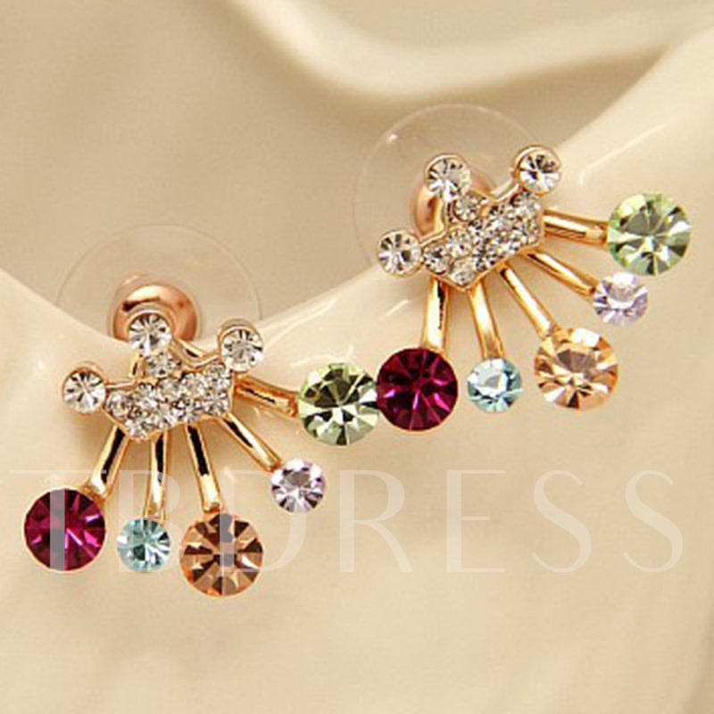 Colorful Rhinestone Stud Earrings