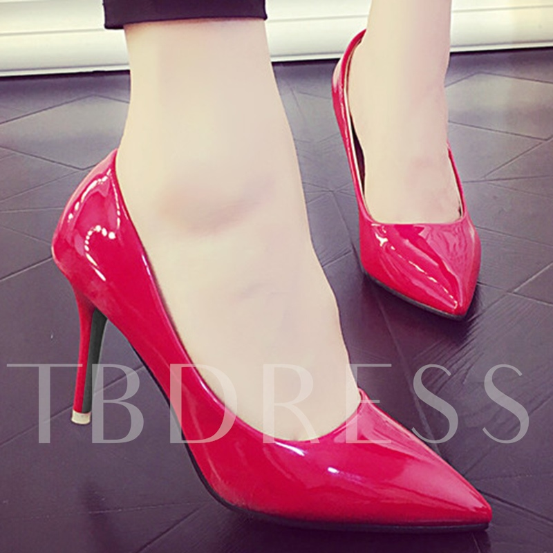 Slip-On Plain Stiletto Heel Pointed Toe Plain Women's Pumps