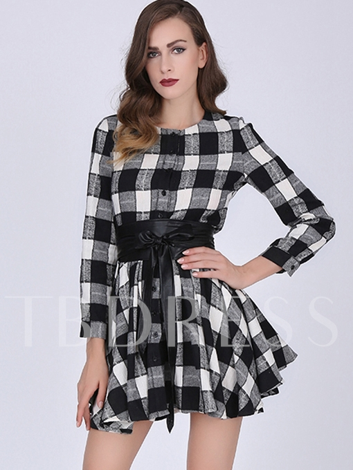 Single-Breasted Plaid Above Knee Long Sleeve Dress