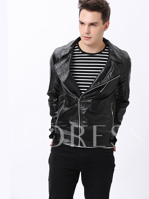 Zip Front Lapel Long Sleeve PU Jacket