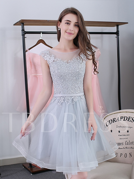 A-Line Scoop Sashes Appliques Mini Homecoming Dress