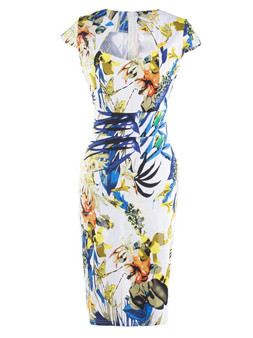 Cap Sleeve Printing Women's Bodycon Dress (Plus Size Available)