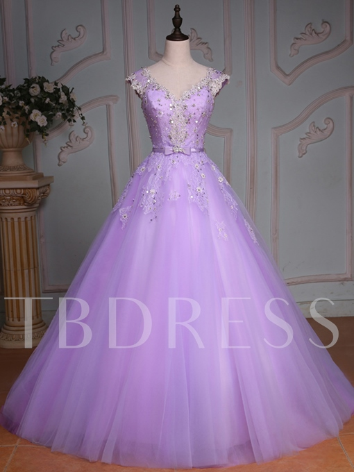 V-Neck Beading Lace Sequins Quinceanera Dress