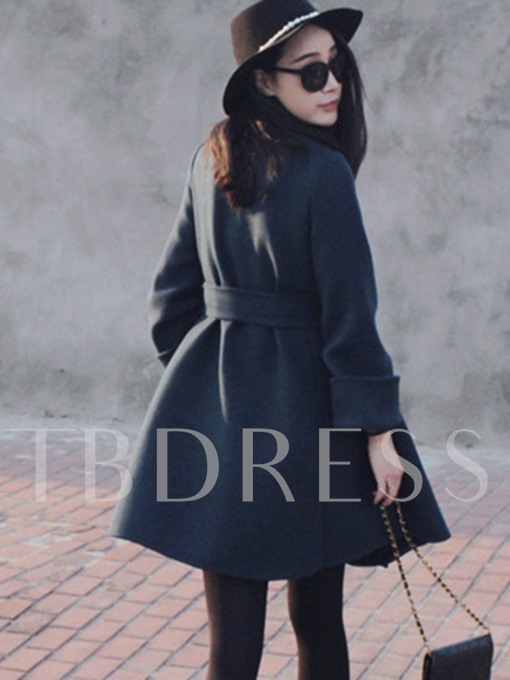 Long Belt Round Neck Women's Overcoat