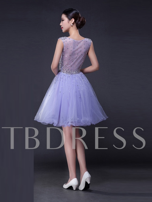 A-Line Round Neck Beading Rhinestone Mini Homecoming Dress