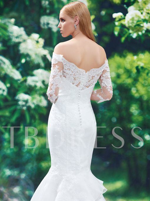 Off-The-Shoulder Mermaid Half Sleeves Appliques Wedding Dress