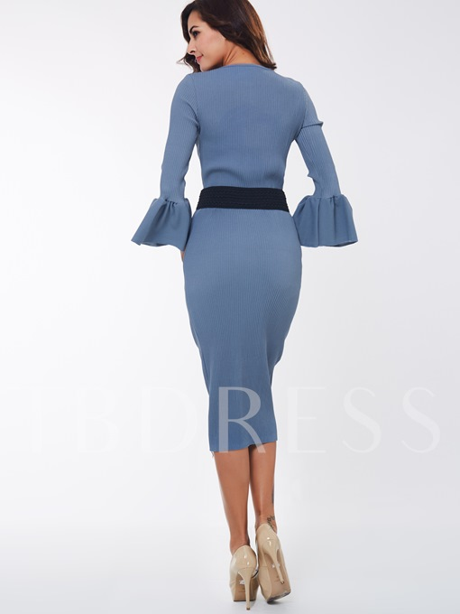 Blue Round Neck Belt Women's Skirt Suit
