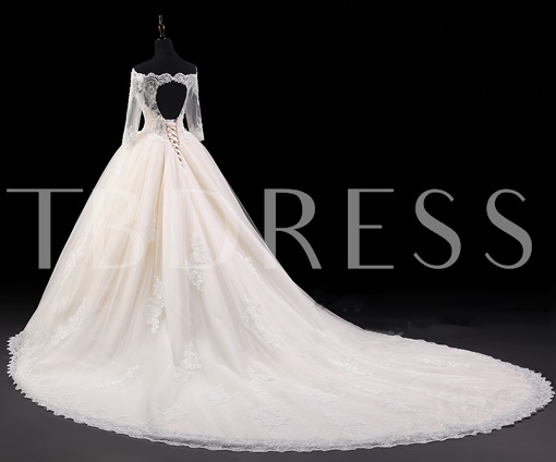 Off-the-Shoulder Beaded Appliques Half Sleeves Ball Gown Wedding Dress