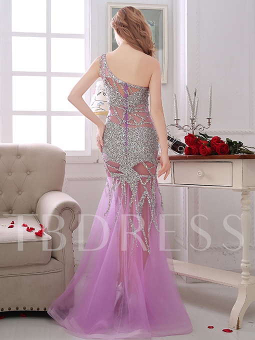 Sheath One-Shoulder Beading Rhinestone Evening Dress