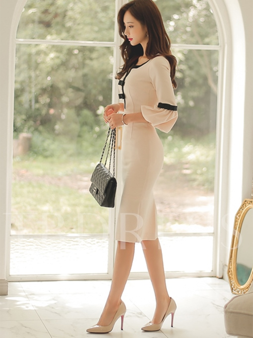Plain Bow Bell Sleeve Women's Sheath Dress