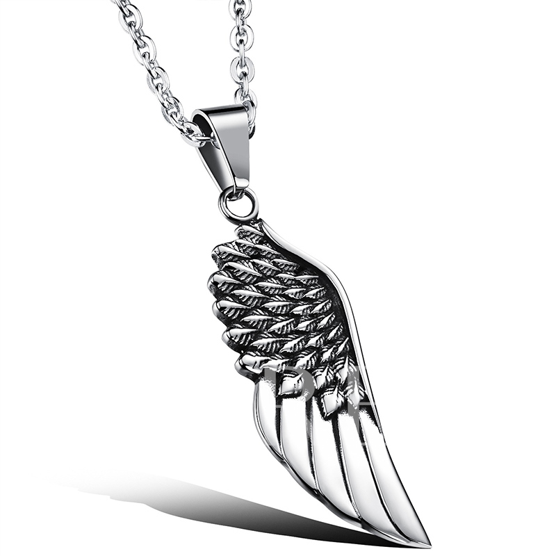 Angel Wing Pendant Titanium Men's Necklace