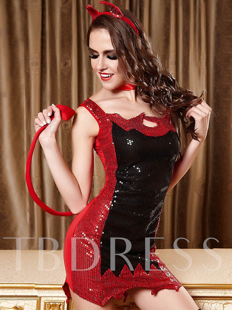 Black and Red Sequins Halloween Costume