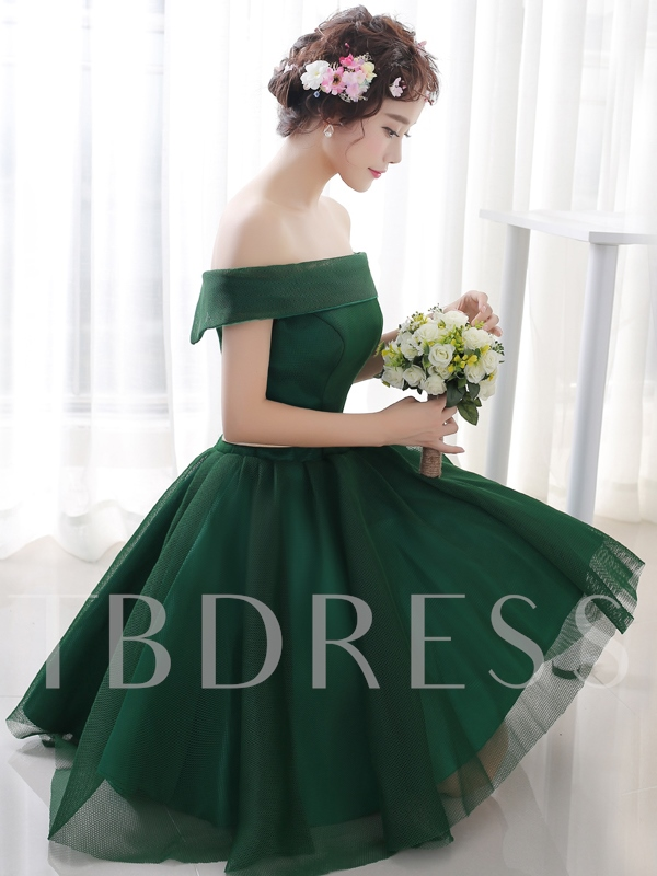 A-Line Off-the-Shoulder Back Lace-Up Short Homecoming Dress