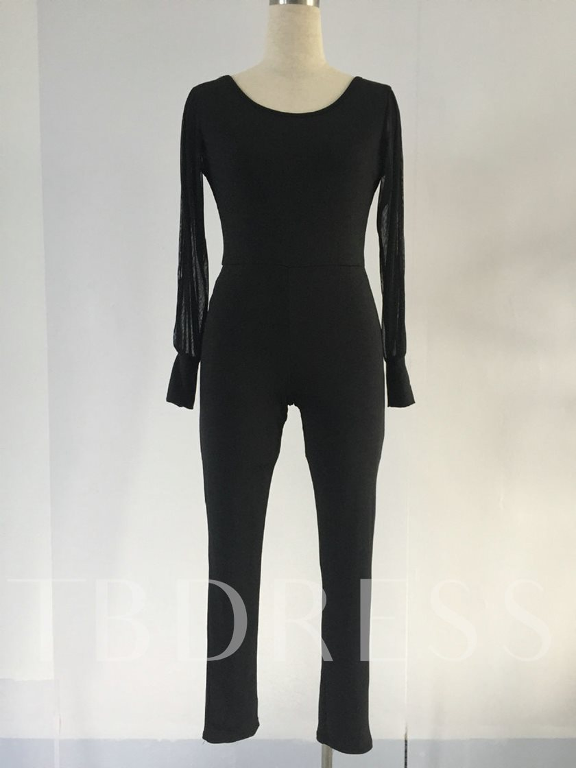 Black Backless Long Sleeve Tight Women's Jumpsuits