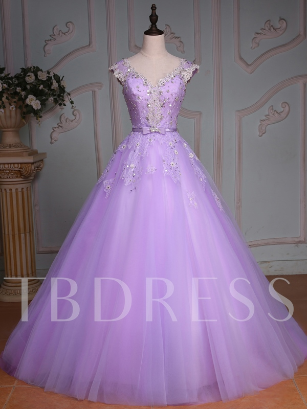 Beading Lace Sequins Lilac Quinceanera Dress