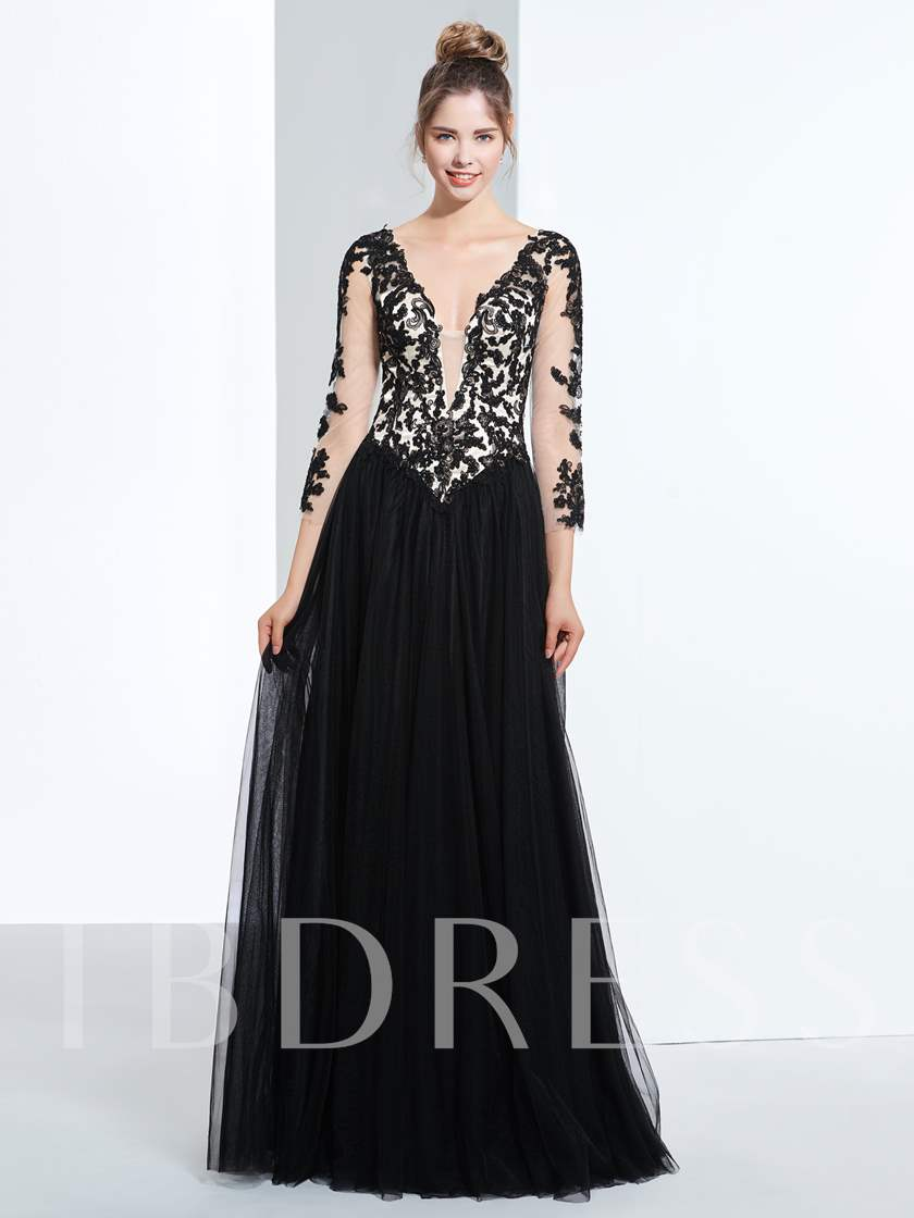 A-Line V-Neck 3/4 Length Sleeves Appliques Beading Prom Dress
